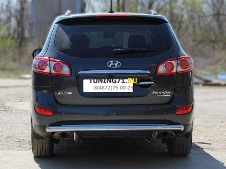 Hyundai Santa Fe 2010-2012г.в.-Защита заднего бампера d-60 радиусная